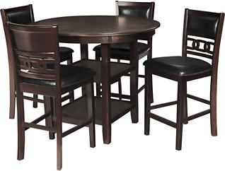 Gia Ebony 5 Piece Counter Table Set, Black, large