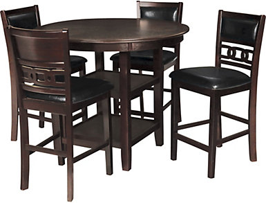 Gia Ebony 5 Piece Counter Table Set, Black, large