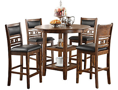 Gia Espresso 5 Piece Counter Table Set, , large