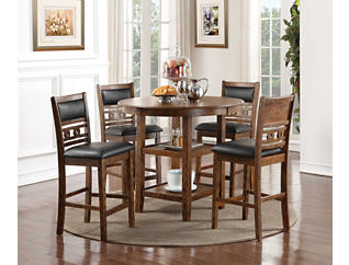 Gia Espresso 5 Piece Counter Table Set, Brown, large