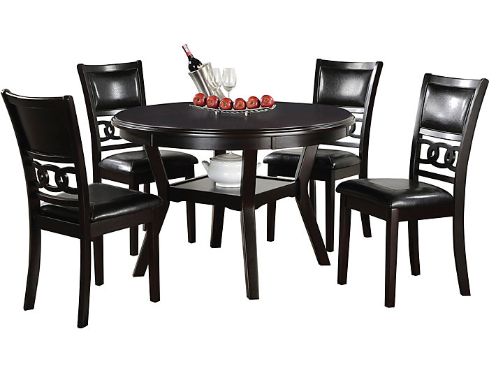 Black Cherry Finish; Gia 5 Piece Dining Set. Dining Table And 4 Dining  Chairs.