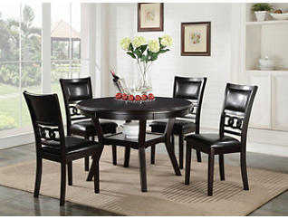 Gia Ebony 5 Piece Dining Set, Black, large