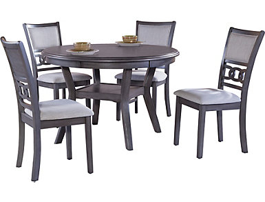 Gia 5 piece Dining Table.  Table and 4 dining chairs.  Grey finish., , large