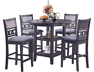 Gia Grey 5 Piece Counter Table Set, , large