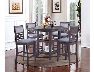 Gia Counter Table and Stools, Grey, large