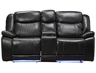 Las Vegas Dual Power Reclining Loveseat, Black, , large