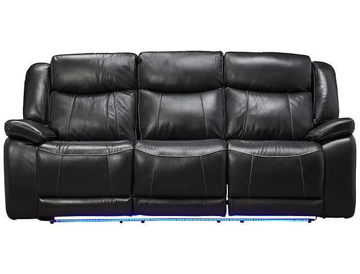 Las Vegas Dual Power Reclining Sofa, Black, , large
