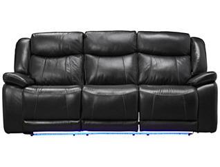 Las Vegas Dual Power Reclining Sofa, Black, , large