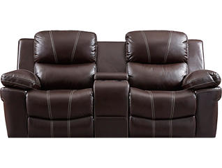 Legato Dual Power Leather Reclining Loveseat with Console,                      Brown, , large