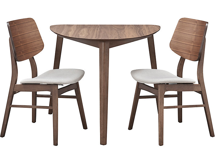Oscar Walnut 3 Piece Dining Set