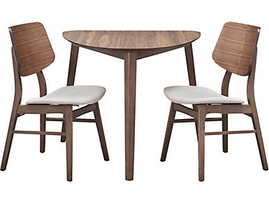 Oscar 3 Piece Dining Set. Table And 2 Side Chairs. Walnut Finish.