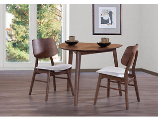 Oscar Walnut 3 Piece Dining Set, , large