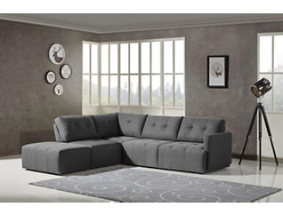 Colony Charcoal 4 Piece Modular Sectional with Right-Arm Facing Loveseat, , large