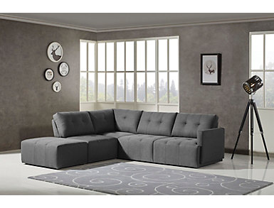 Colony Charcoal 4 Piece Modular Sectional Right-Arm Facing Loveseat, , large