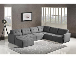 Colony Charcoal 5 Piece Modular Sectional with Left-Arm Facing Chaise, , large