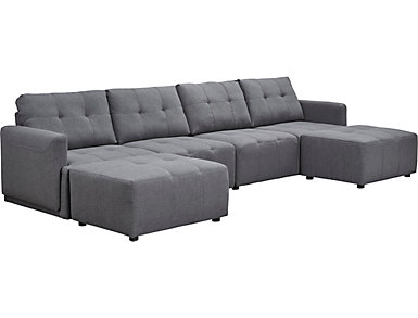 Colony Charcoal 4 Piece Modular Sectional with Cocktail Ottoman, , large