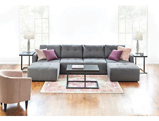 Colony Charcoal 4 Piece Modular Sectional with Floating  Cocktail Ottomans, , large