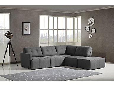 Colony Charcoal 4 Piece Modular Sectional with Left-Arm Facing Loveseat, , large