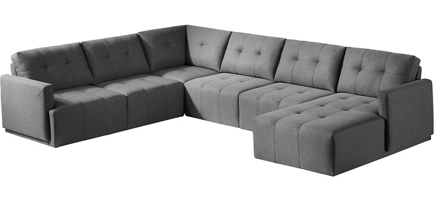 Colony Charcoal 5 Piece Modular Sectional with Right-Arm Facing Chaise