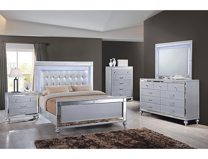 Valentino Silver 3 Piece Queen Bedroom Set