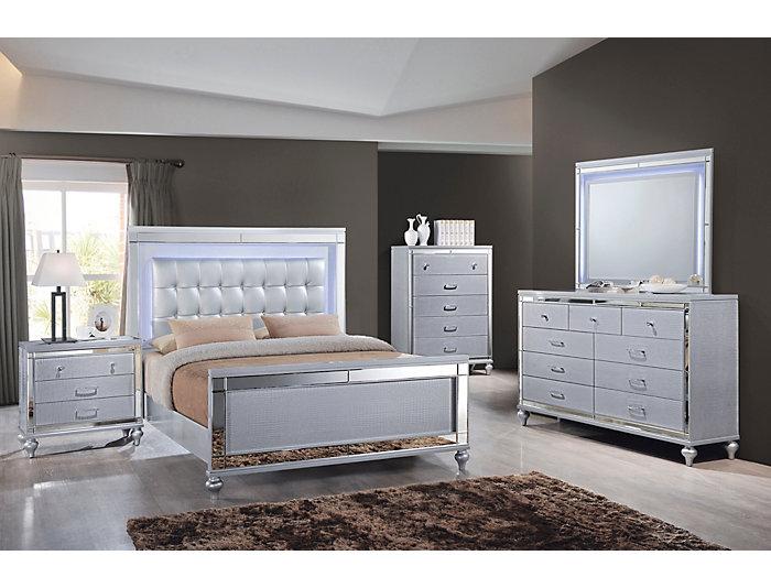 Valentino Silver 4 Piece Queen Bedroom Set