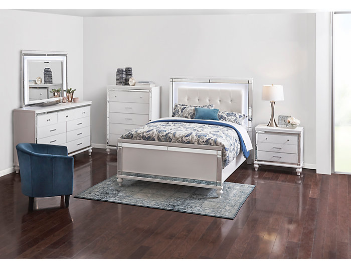 Valentino White 3 Piece Queen Bedroom Set