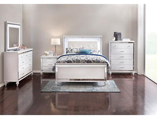 Valentino White Queen Bed, , large