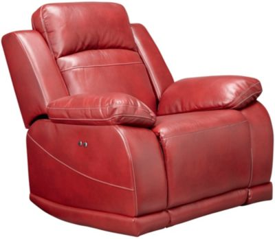 Vega Black Power Glider Recliner with LED Lights, Red, swatch
