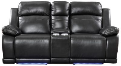 Vega Power Reclining Console Loveseat with LED Lights, Black, Black, swatch