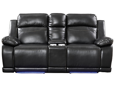 Vega Black Manual Reclining Console Loveseat with LED Lights, , large