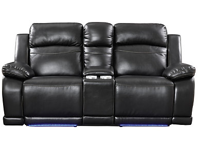 Vega Black Power Reclining Console Loveseat with LED Lights, Black, large