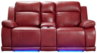 Vega Power Reclining Console Loveseat with LED Lights, Black, Red, swatch