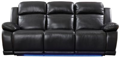 Vega Power Reclining Sofa with LED Lights, Black, Black, swatch