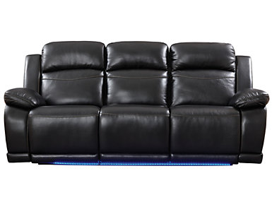 Vega Black Power Reclining Sofa with LED Lights, Black, large