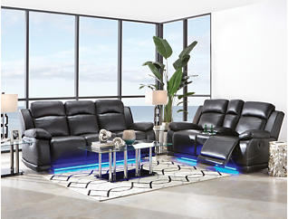 Vega Black Manual Reclining Sofa with LED Lights, , large