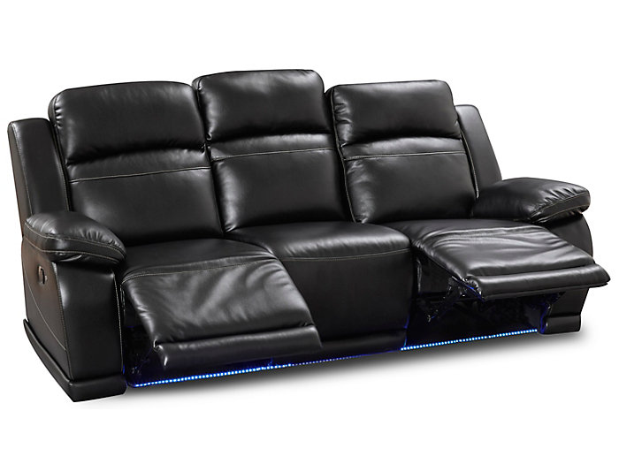 Vega Reclining Sofa, Black, , large