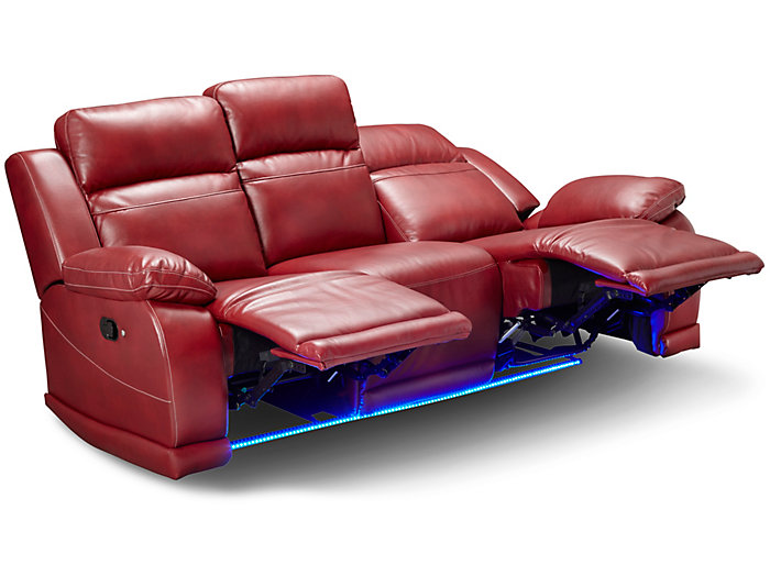 Vega Reclining Sofa, Red | Outlet at Art Van