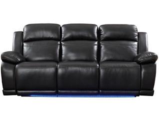 Vega Power Reclining Sofa, Black, Black, large