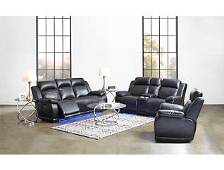 Vega Black Power Reclining Sofa with LED Lights, Black, large