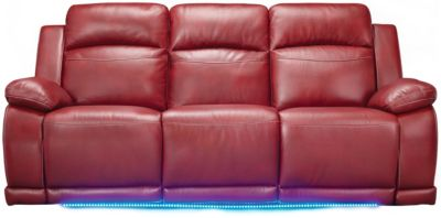 Vega Power Reclining Sofa with LED Lights, Black, Red, swatch