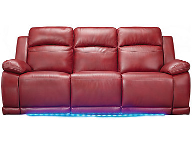 Vega Black Power Reclining Sofa With LED Lights, Red, Large