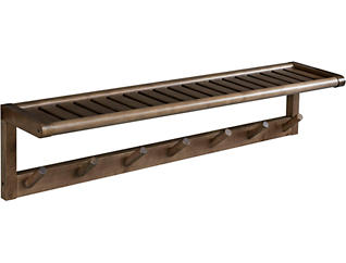 Alder Chestnut Peg Wall Shelf, , large