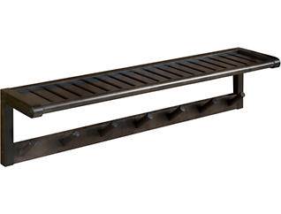 Alder Espresso Peg Wall Shelf, , large