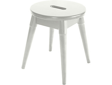 Griffin White Round Stool, , large