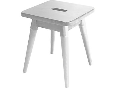 Griffin White Square Stool, , large