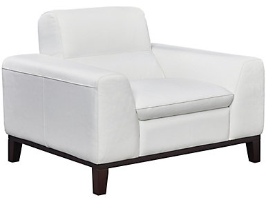 Genuine Leather Alex Chair, White, , large