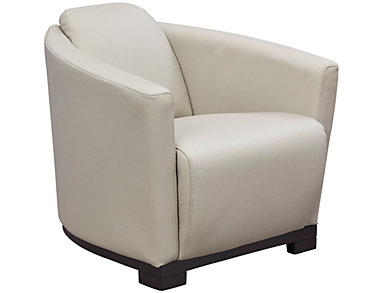Top-Grain Genuine Leather Hotel Accent Chair, Taupe, , large