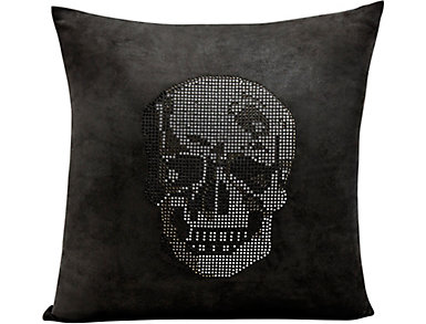 Black Rhinestone Skull Pillow, , large