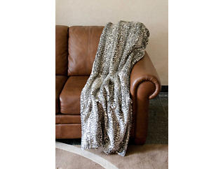 Grey Leopard Faux Fur Blanket, , large