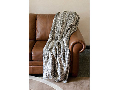 Grey Leopard Faux Fur Blanket, , large